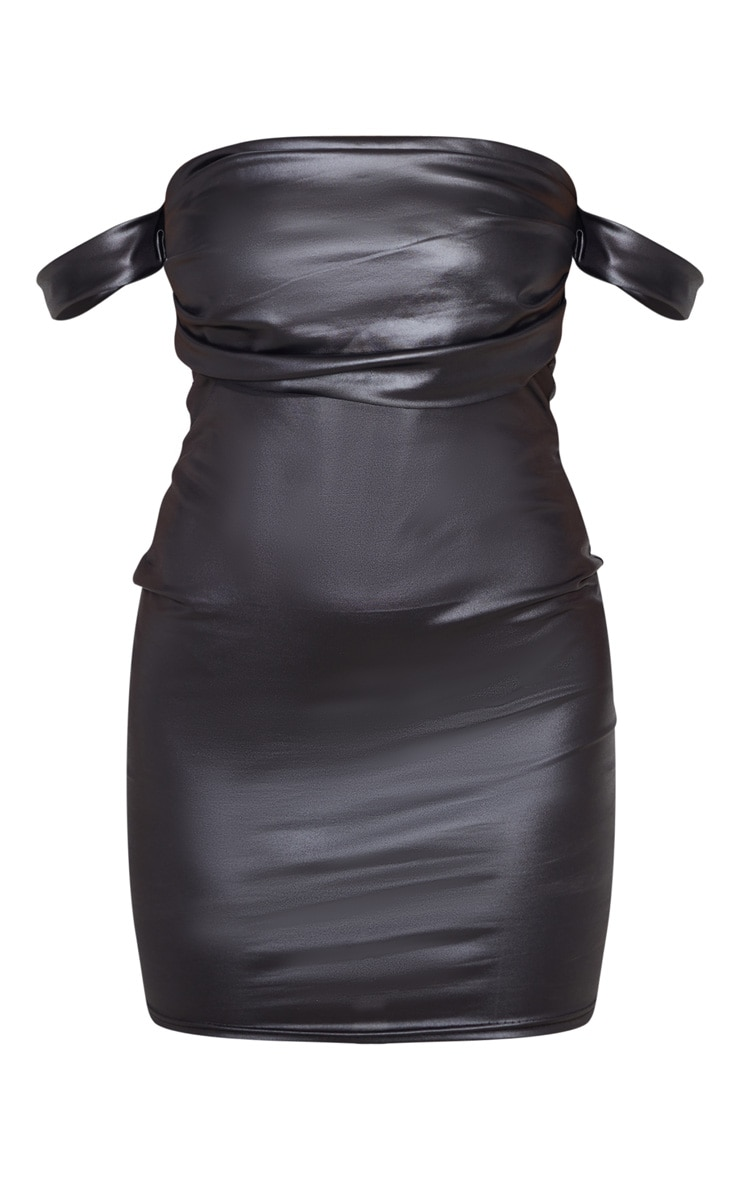 Petite Black Wet Look Mini Dress 3