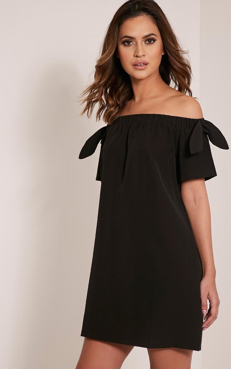 Cayla robe trapèze bardot en crêpe noire 4