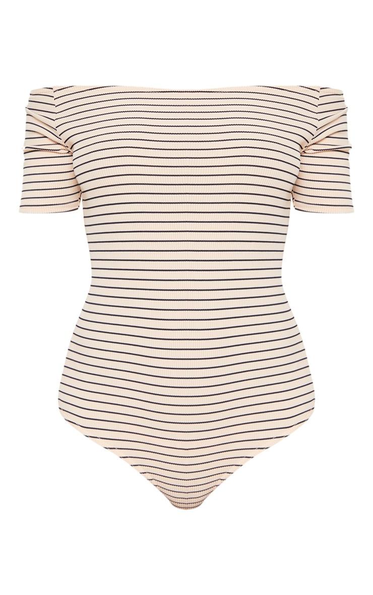 Nude Stripe Rib Bardot Bodysuit 3