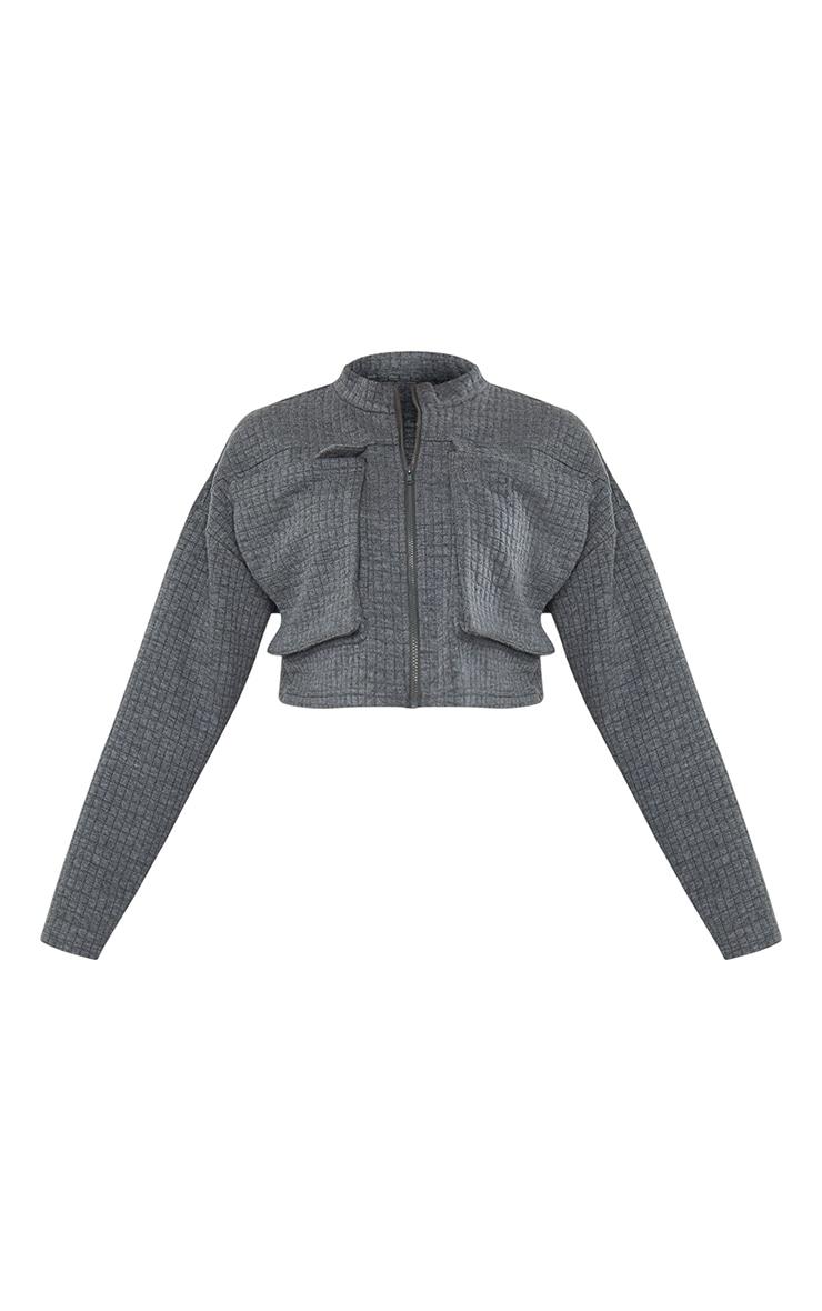 Grey Quilted Oversized Pocket Zip Up Sweatshirt 5