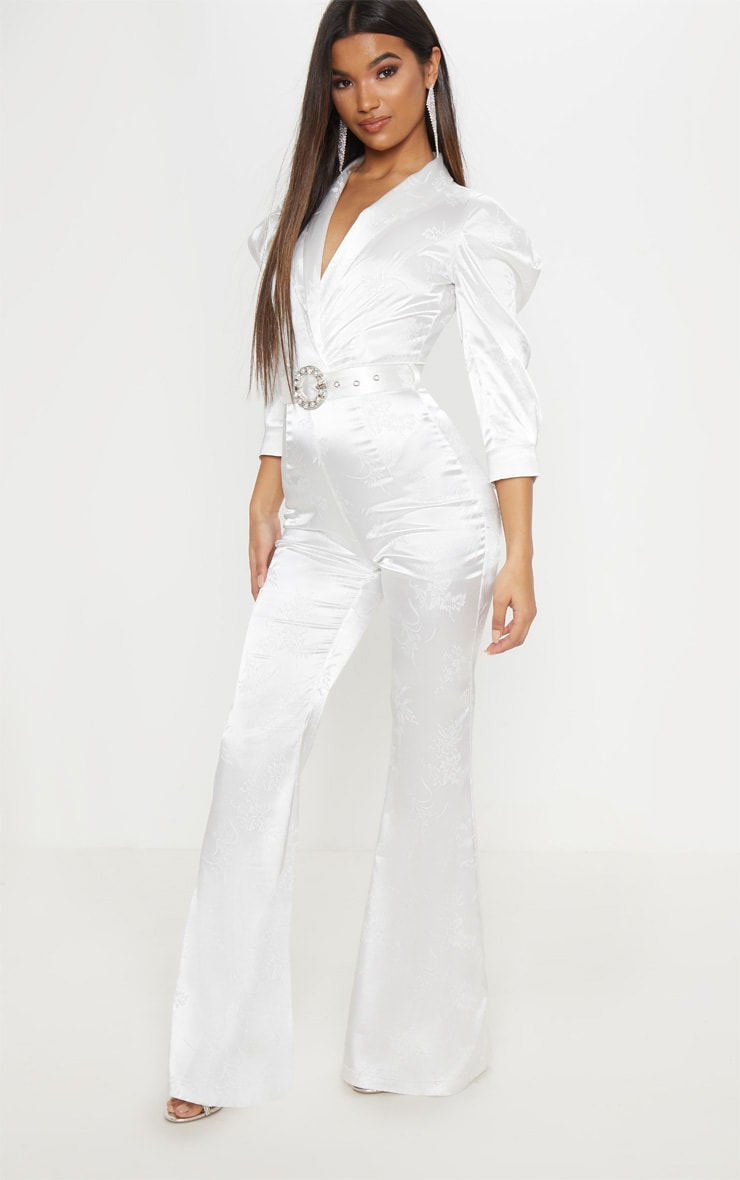5b9017463a2 White Belted Puff Sleeve Jumpsuit image 1