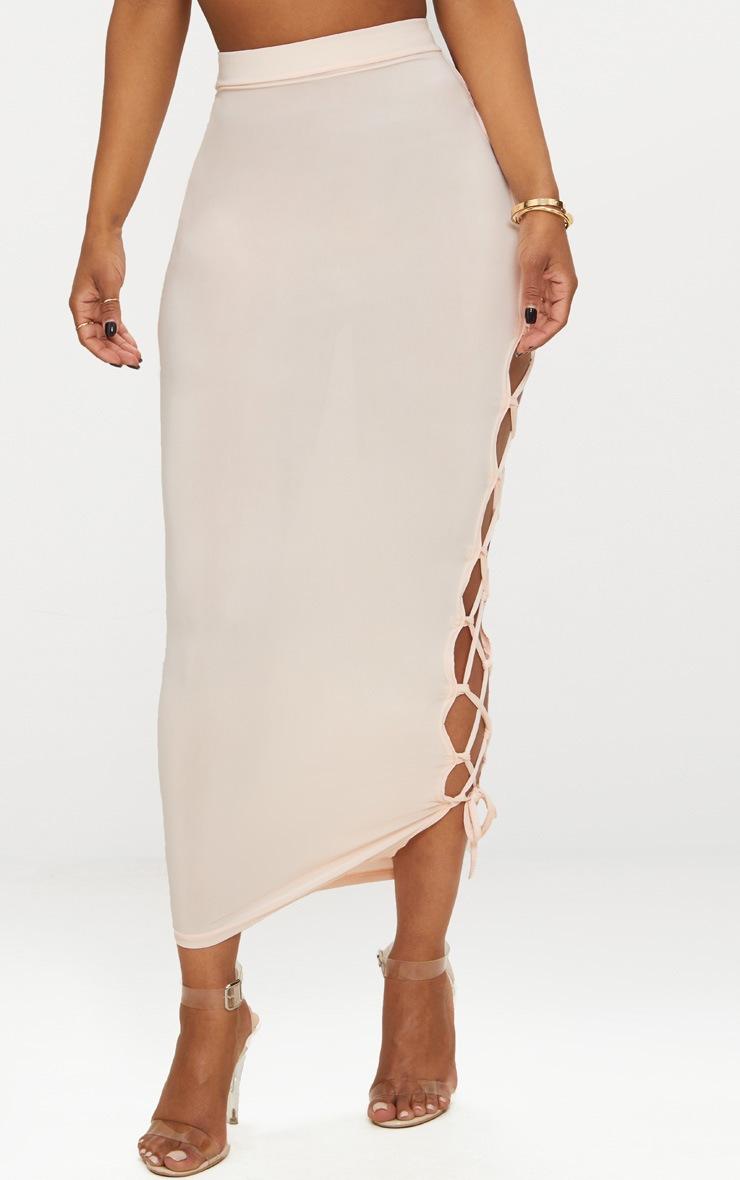 Shape Nude Slinky Lace Up Detail Midi Skirt 2