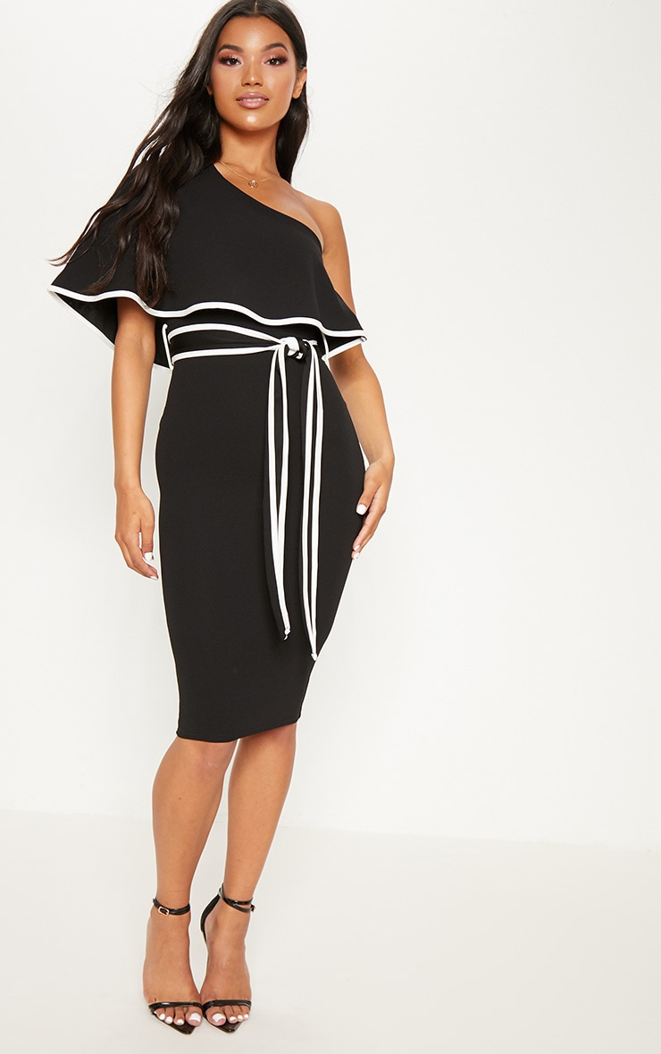 Black One Shoulder Binding Detail Midi Dress 1