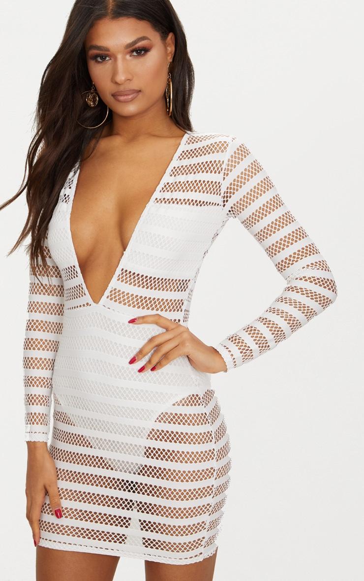 Sale Big Discount PRETTYLITTLETHING Stripe Mesh Panel Bodycon Dress Discount Reliable Big Sale Cheap Price Cheap Sale Low Shipping 5BWcsHJ5bf