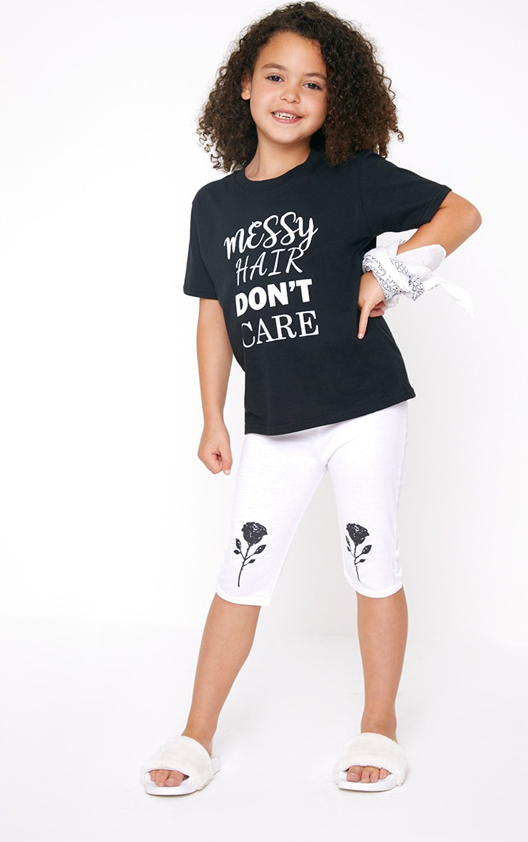 Messy Hair Don't Care Black T Shirt 4