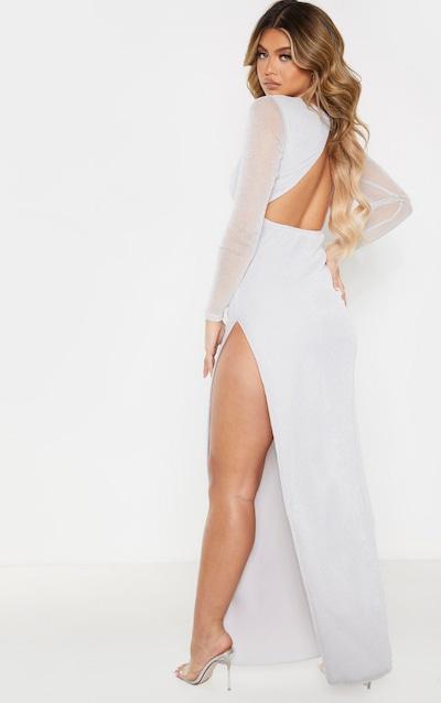 Silver Glitter Backless Long Sleeve Maxi Dress