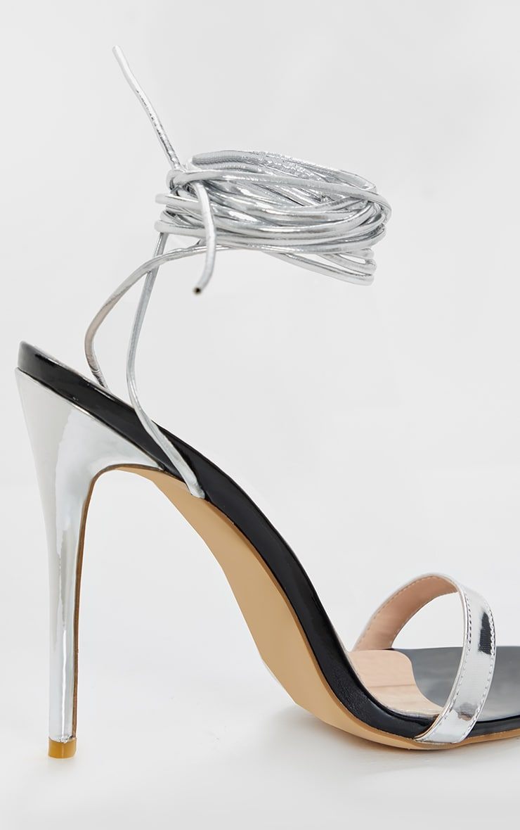 Silver Metallic Thin Strappy Lace Up Sandal 3