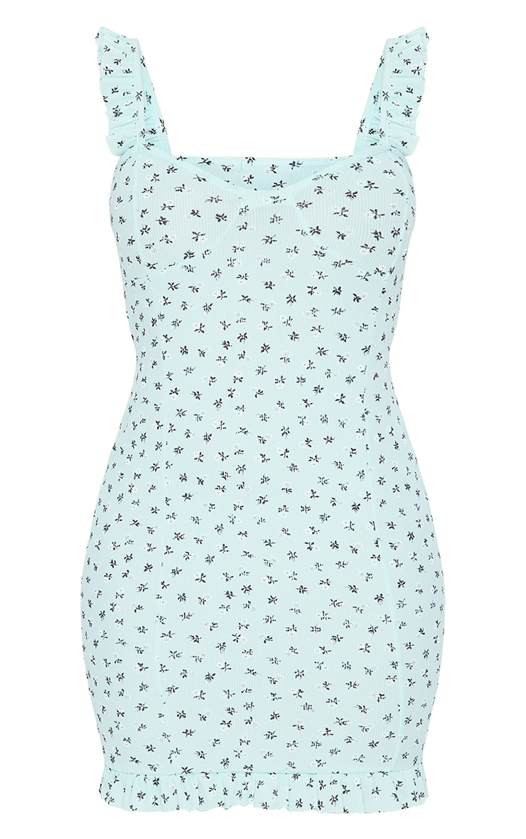 Mint Ditsy Print Frill Detail Strappy Bodycon Dress 5