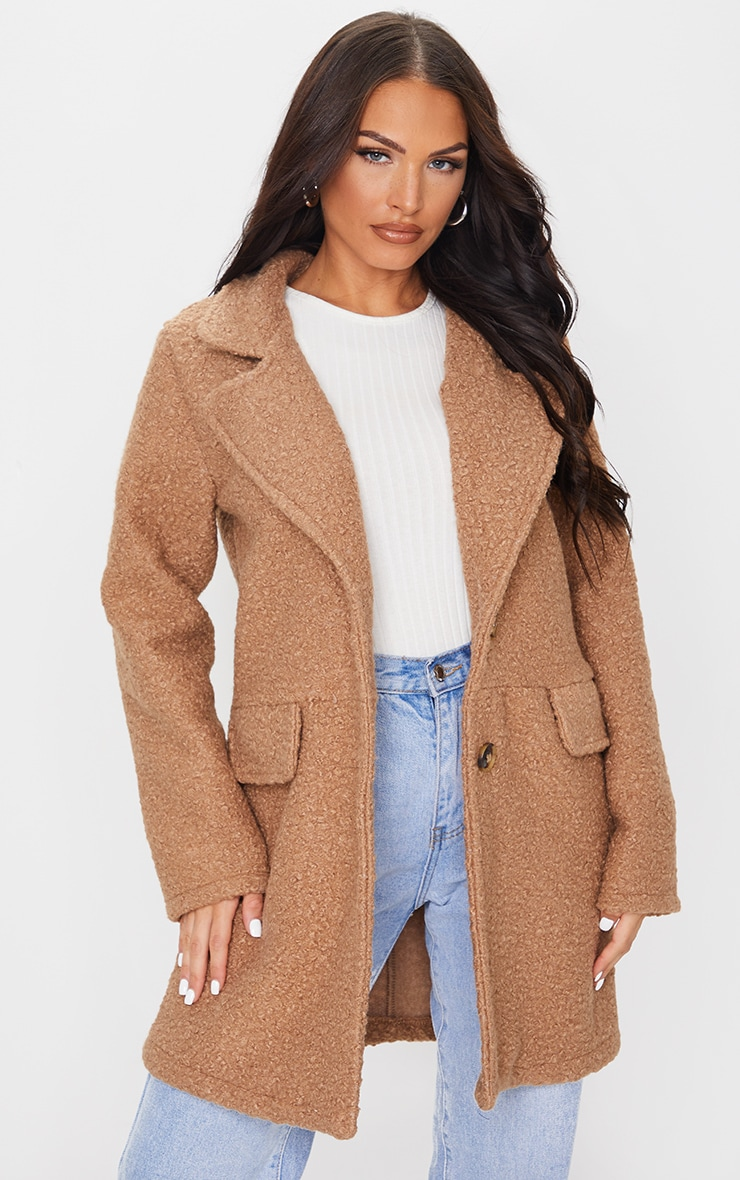 Camel Teddy Button Down Coat 1
