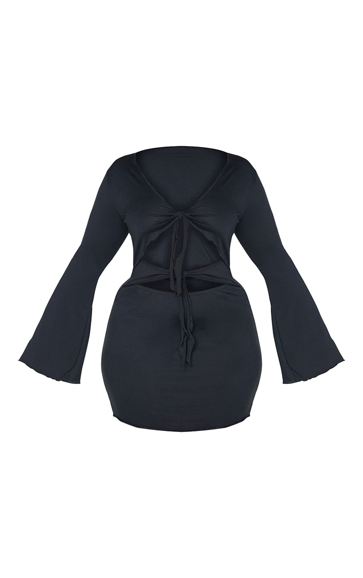 Plus Black Tie Front Long Sleeve Dress 5