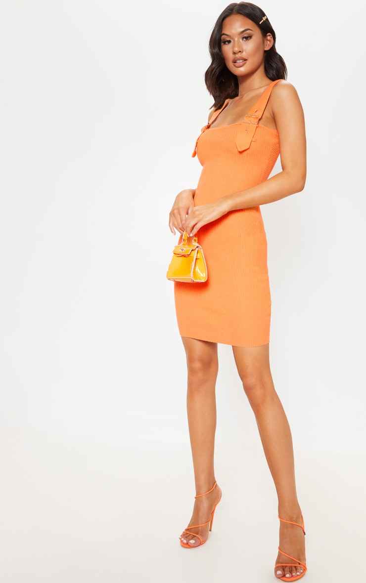 Orange Buckle Detailed Ribbed Knitted Dress  4