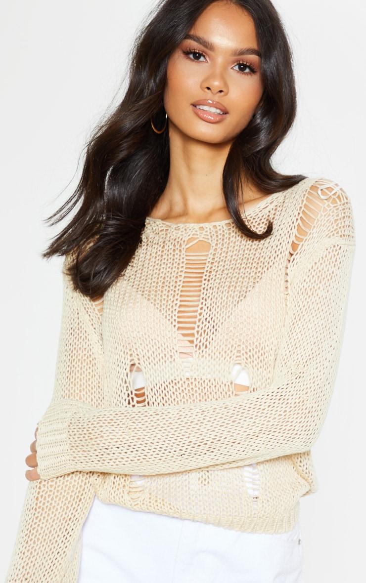Stone Distressed Crochet Long Sleeve Top 5