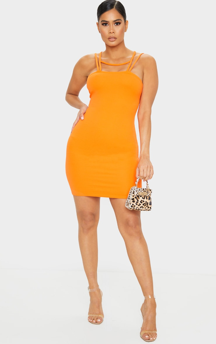 Bright Orange Multi Strap Detail Square Neck Bodycon Dress 3