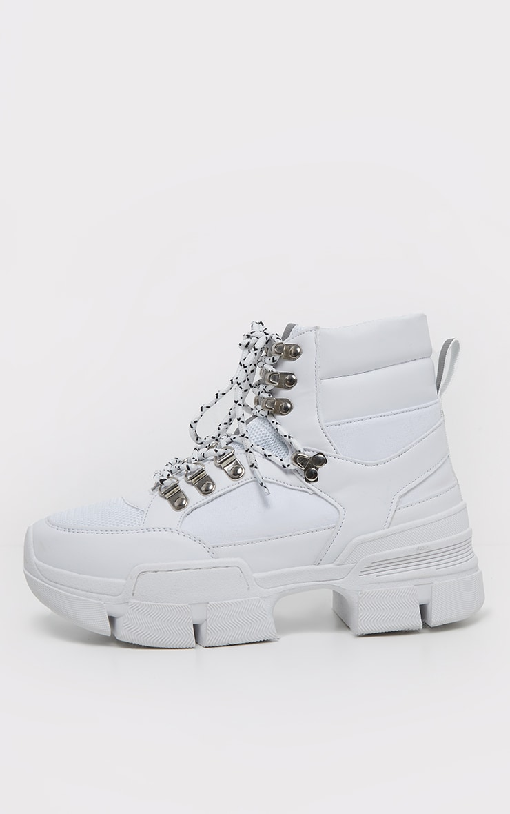 White Lace Up Cleated Sole Hiker Boot 4