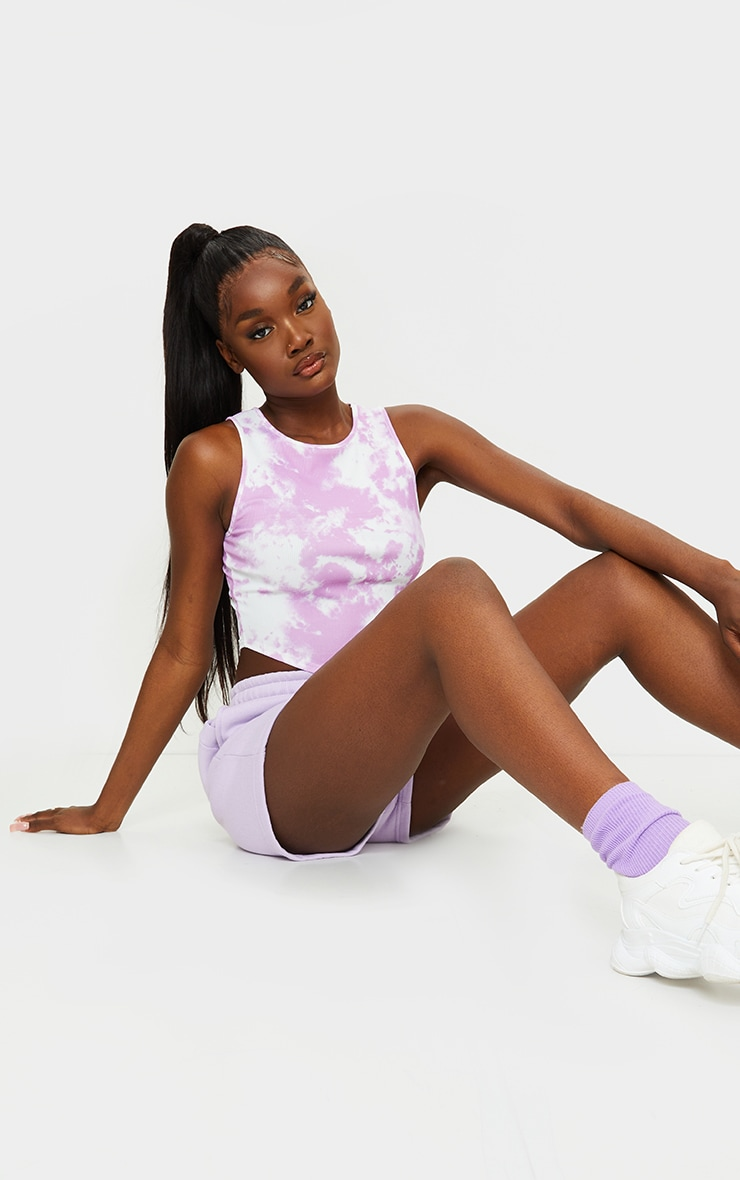 Tall Lilac Tie Dye Rib Racer Neck Crop Top 3
