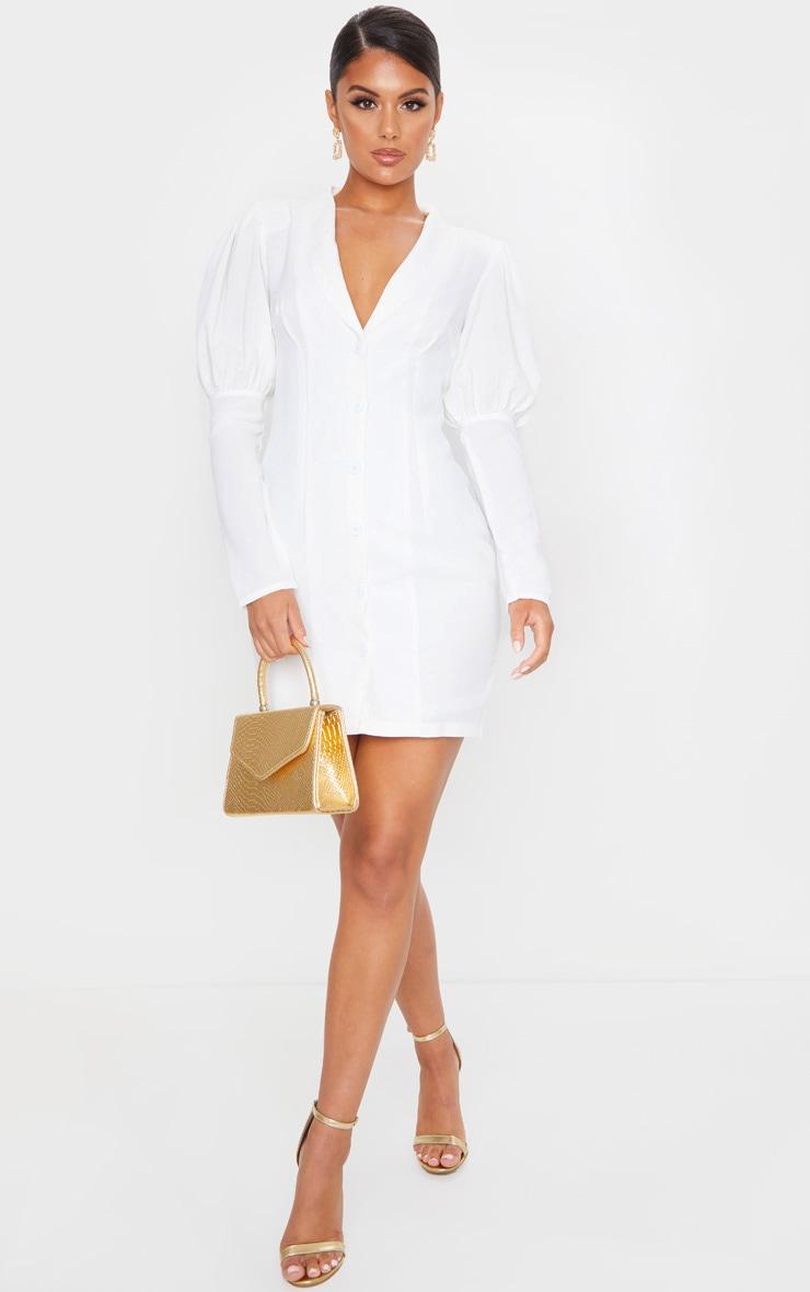 White Woven Puff Shoulder Button Down Blazer Dress 1