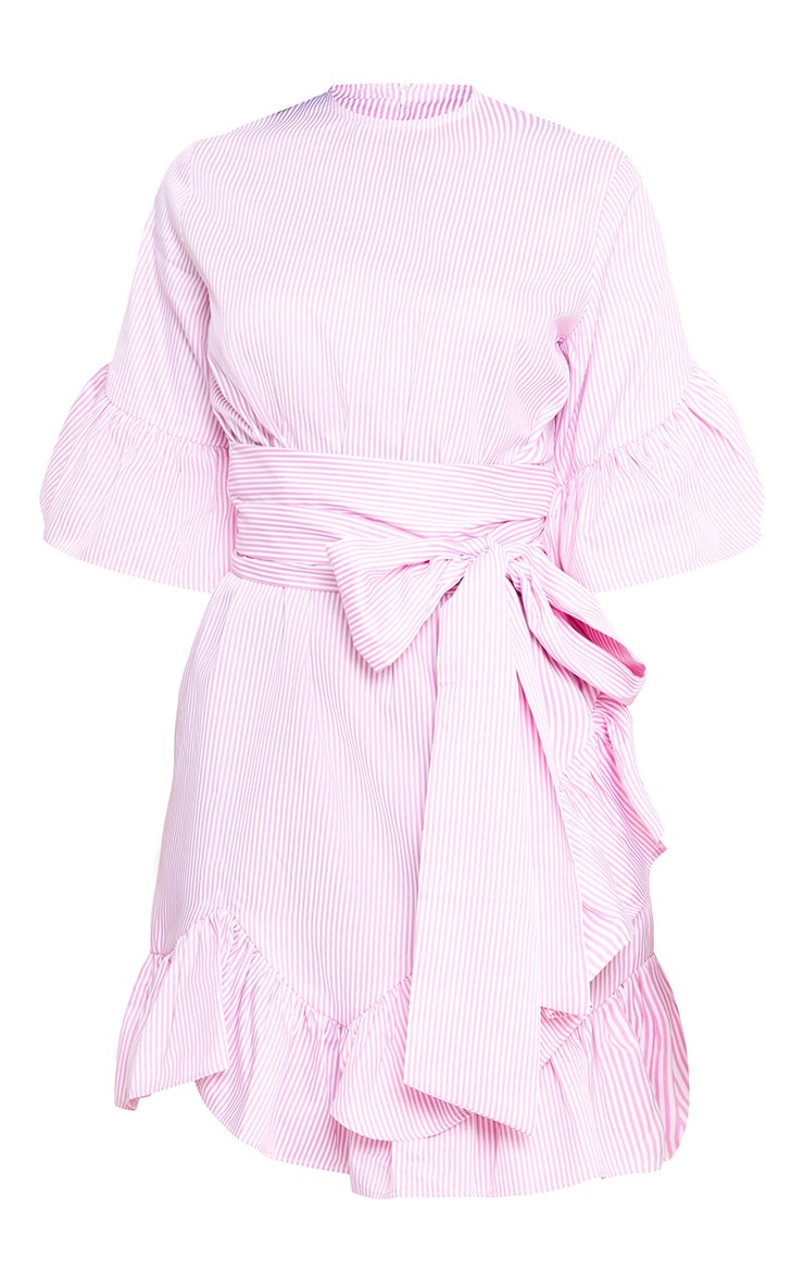 Pink Stripe Frill Detail Mini Dress 3