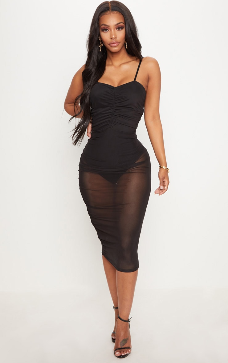 Shape Black Mesh Ruched Strappy Midi Dress 1