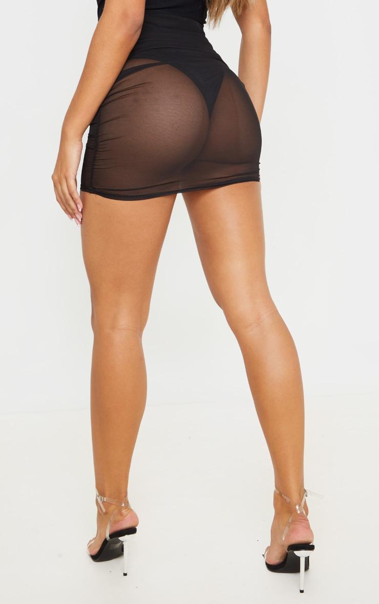 Black Mesh Ruched Mini Skirt 4