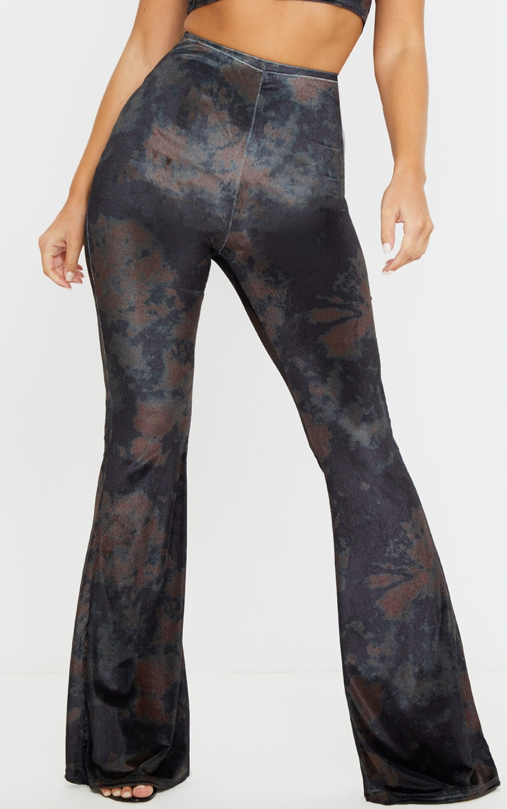Black Tie Dye Velvet High Waisted Flared Pants 2