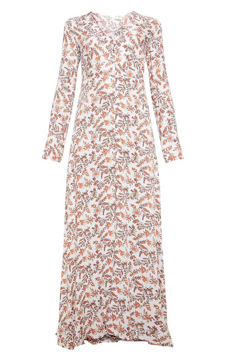 Cream Ditsy Floral Button Front Maxi Dress 3
