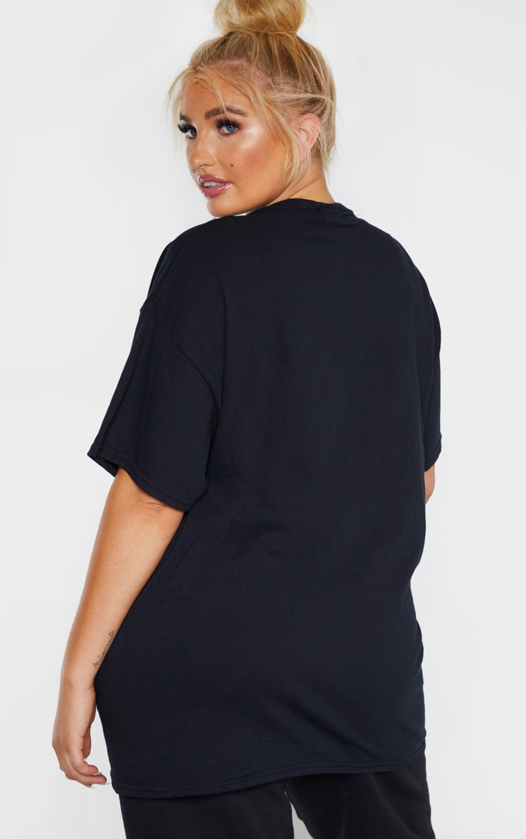 Plus Black Oversized Boxy T Shirt 3