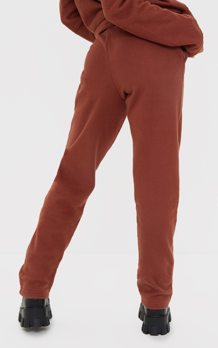 PRETTYLITTLETHING Chocolate Brown Soft Touch Badge Detail Straight Leg Joggers 3