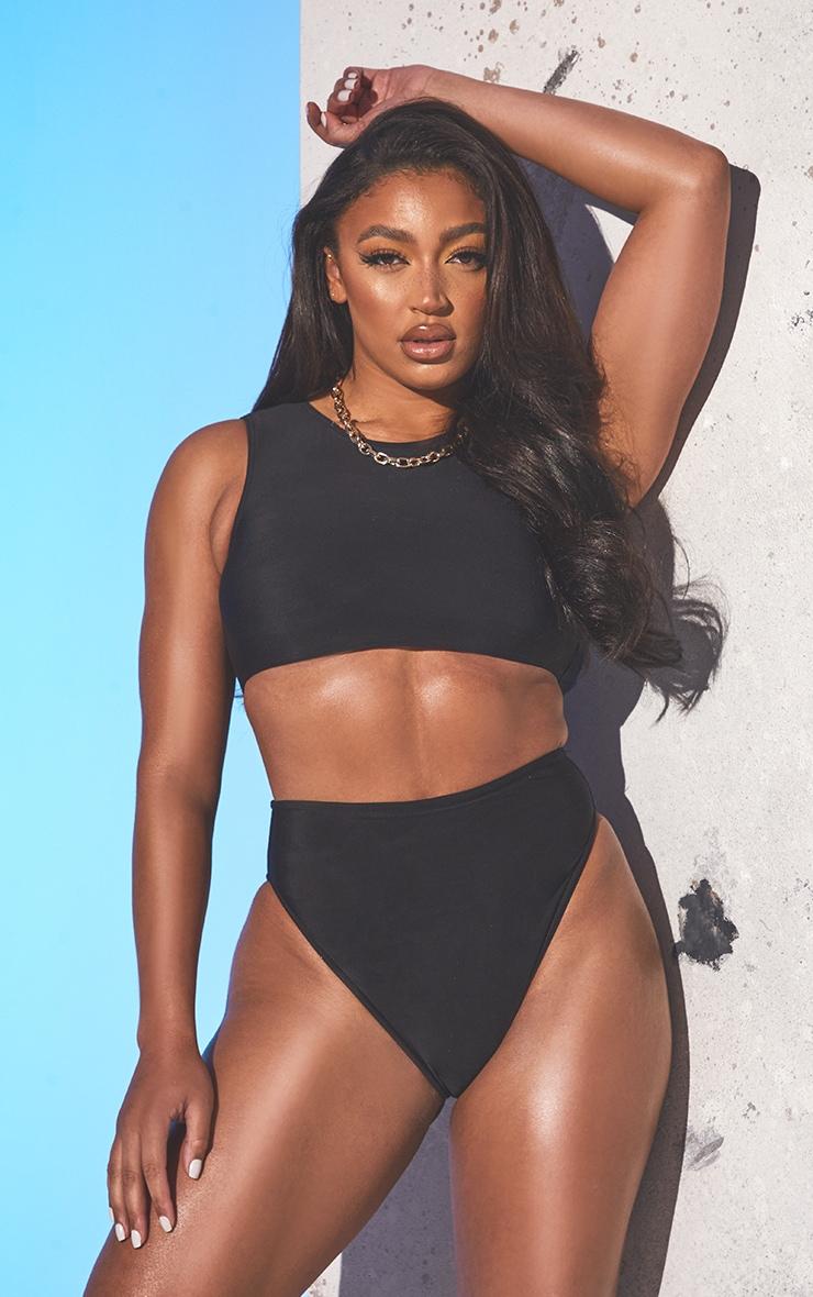 Black Recycled Fabric High Neck High Waist Bikini Set