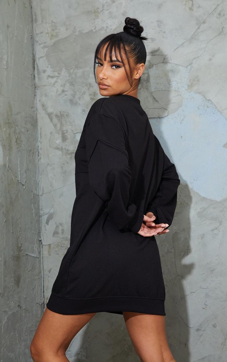 PRETTYLITTLETHING Badge Black Oversized Sweat Jumper Dress 2