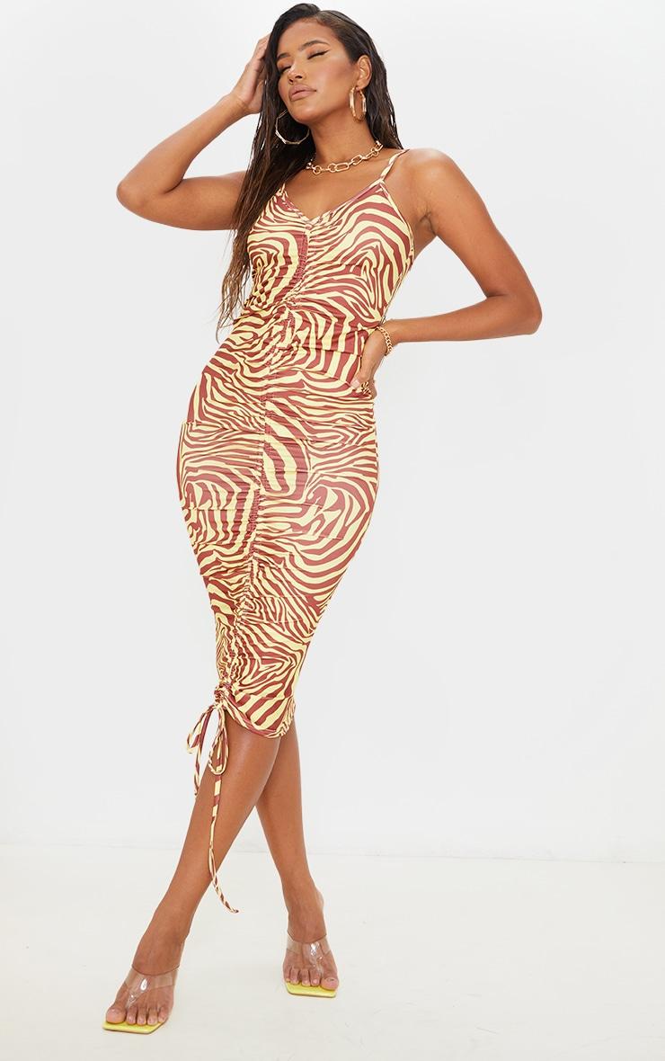 Yellow Zebra Print Slinky Strappy Ruched Midaxi Dress 1