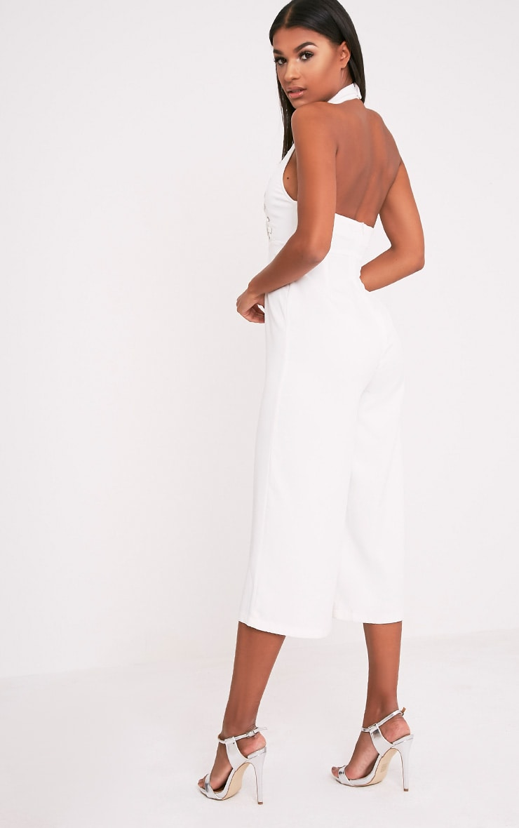 Stephanie White Lace up Cullote Jumpsuit 5