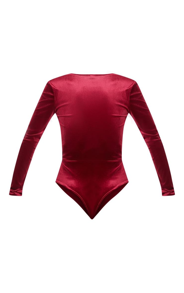 Burgundy Plunge Velvet Long Sleeve Bodysuit 4
