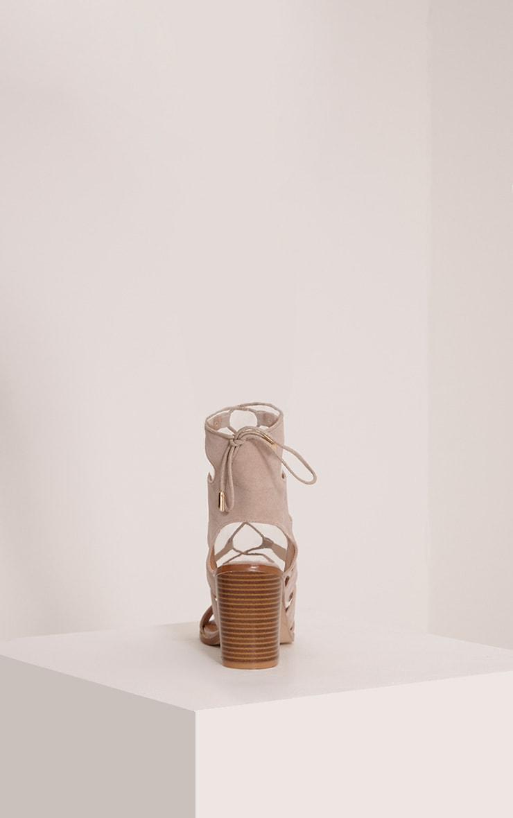 Moni Nude Faux Suede Lace Up Sandals 4