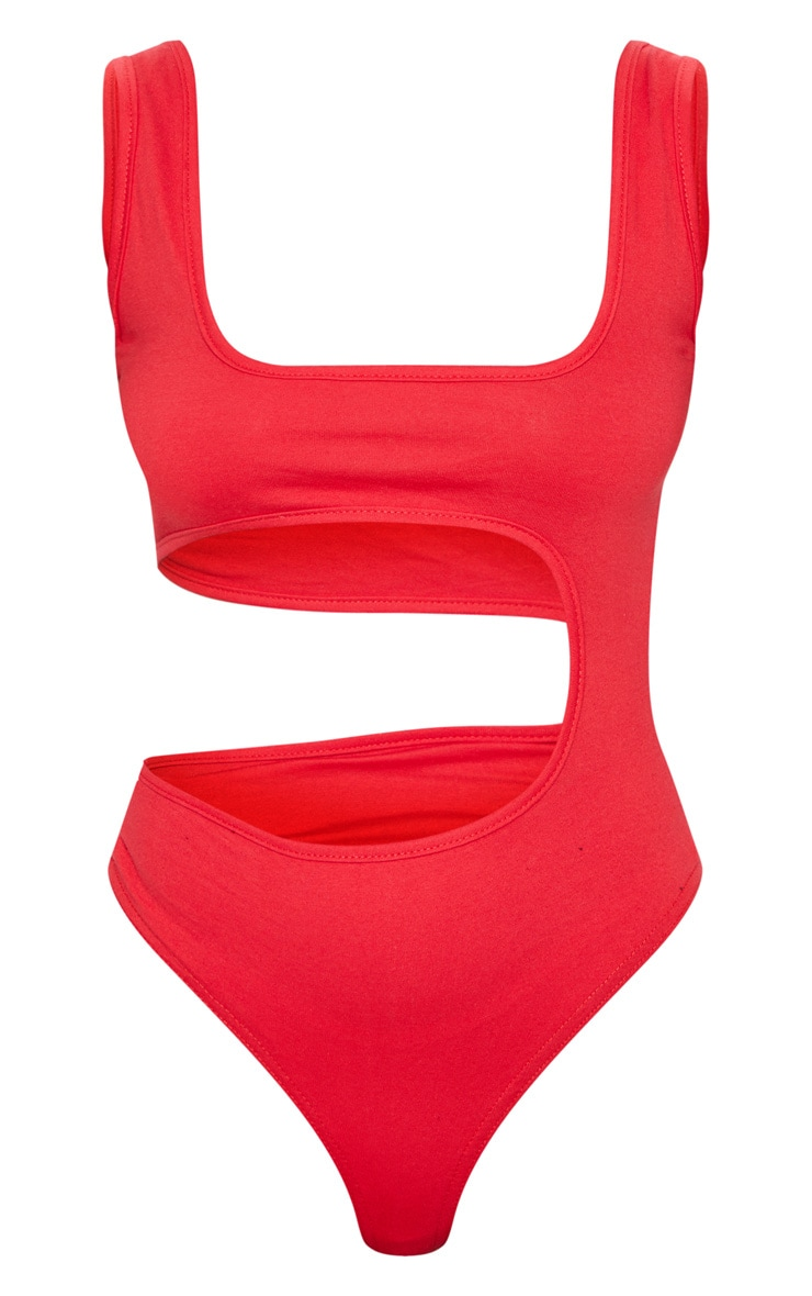 Petite Red Cut Out Bodysuit 3