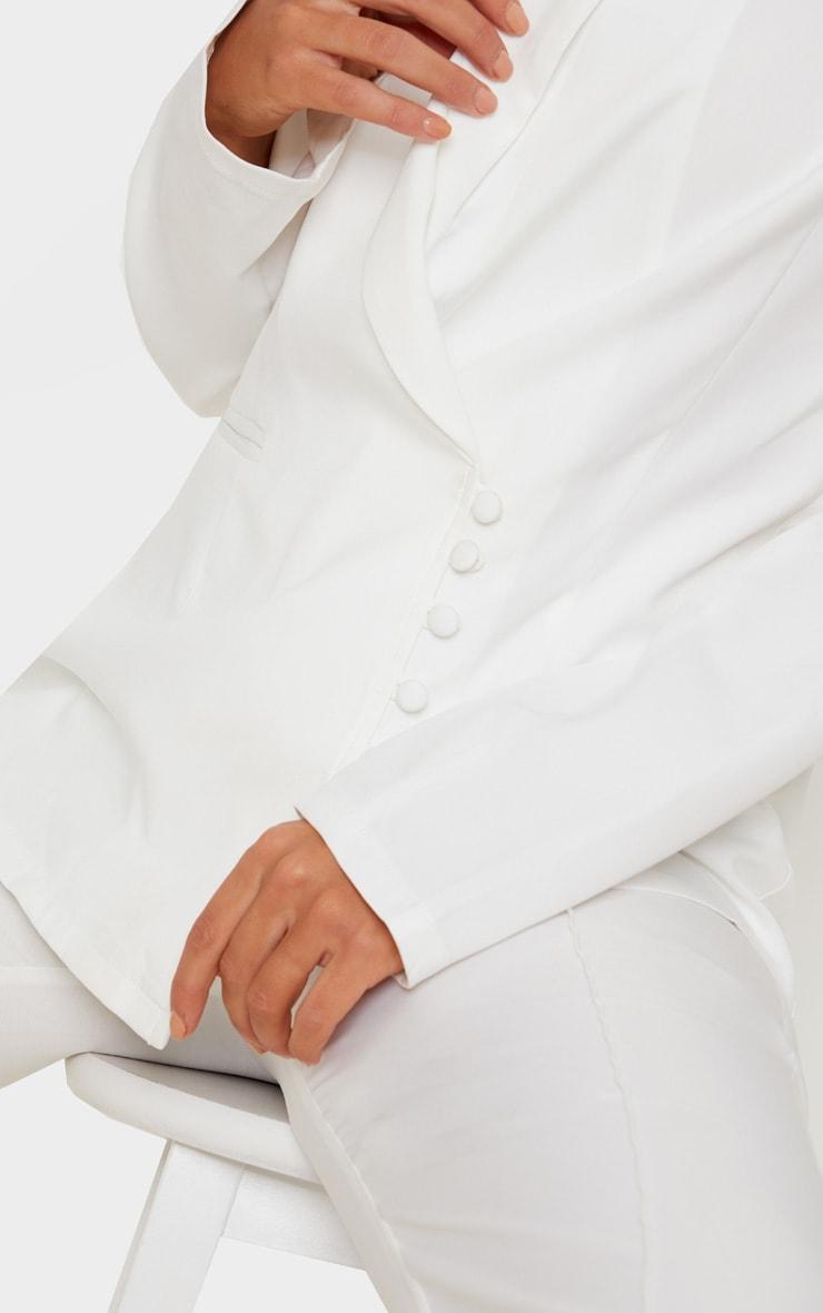 Cream Woven Collar Button Detail Blazer 5