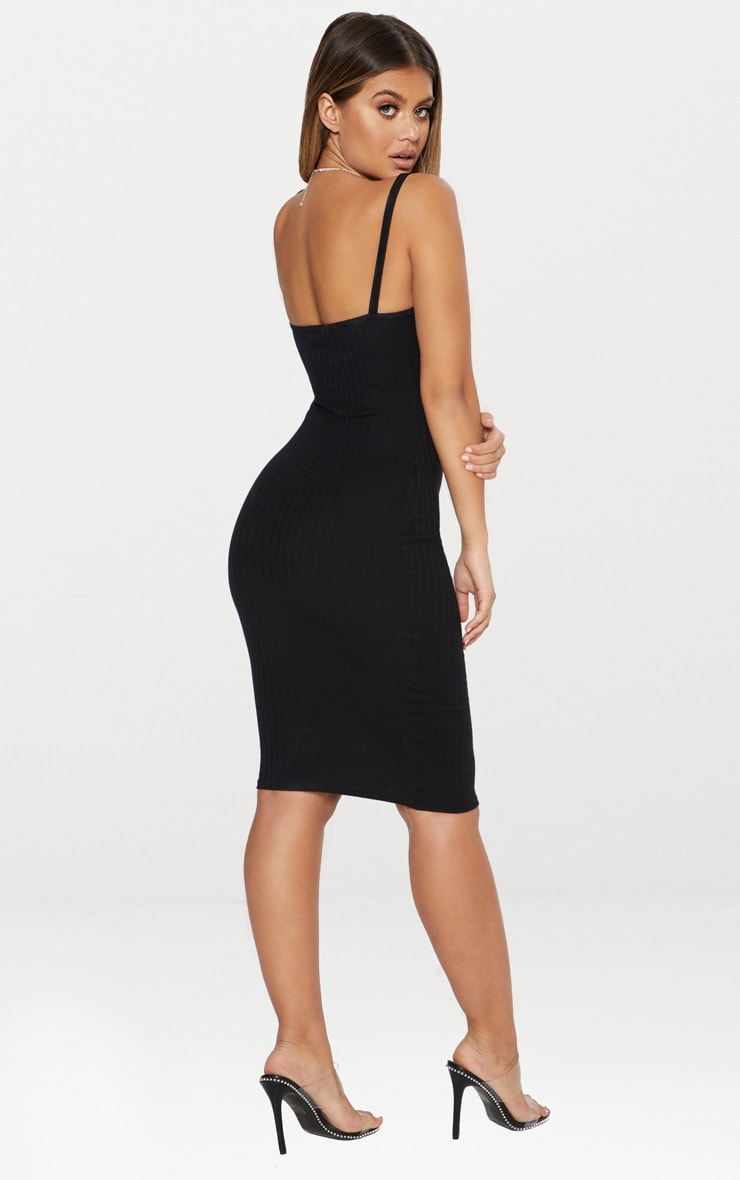 Black Second Skin Ribbed Scoop Neck Midi Dress 2