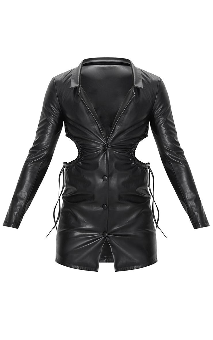 Black PU Cut Out Waist Button Down Blazer Dress 5