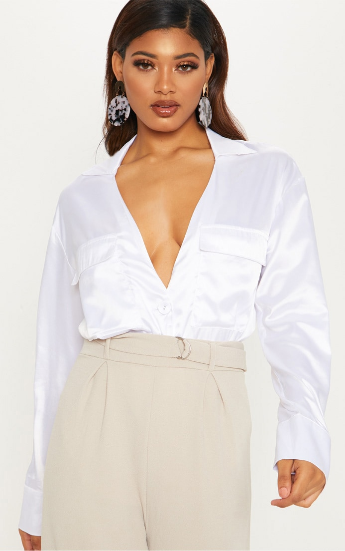 Tall White Plunge Pocket Detail Blouse 1