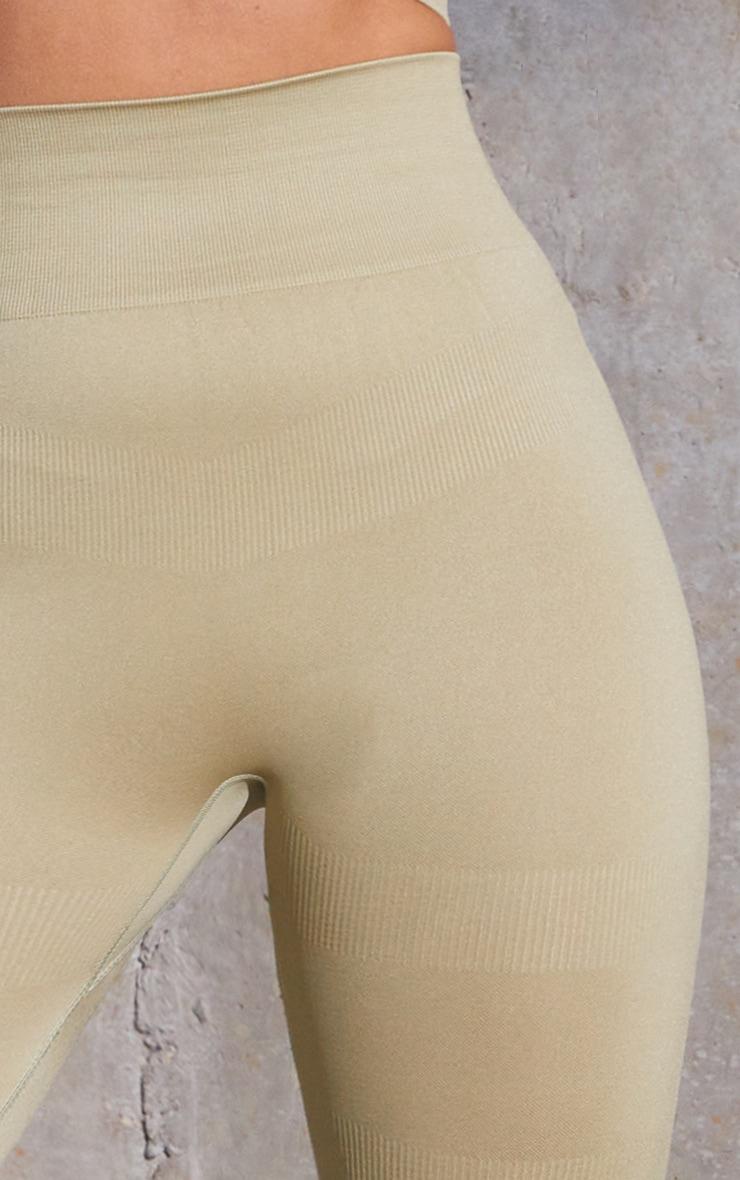 Green Rib Detail Seamless Gym Leggings 4