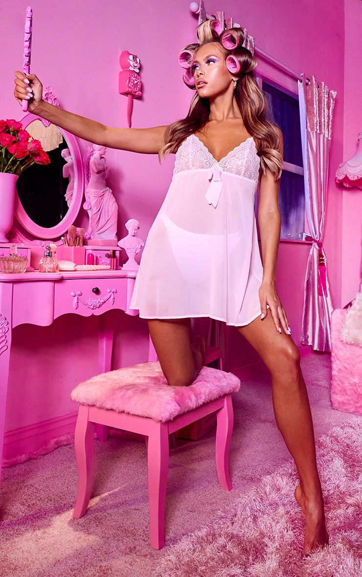 Baby Pink Lace Bust Bow Detail Chiffon Babydoll Nightie 3