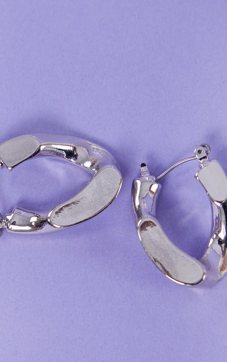 Silver Mini Chain Hoop Earrings 3