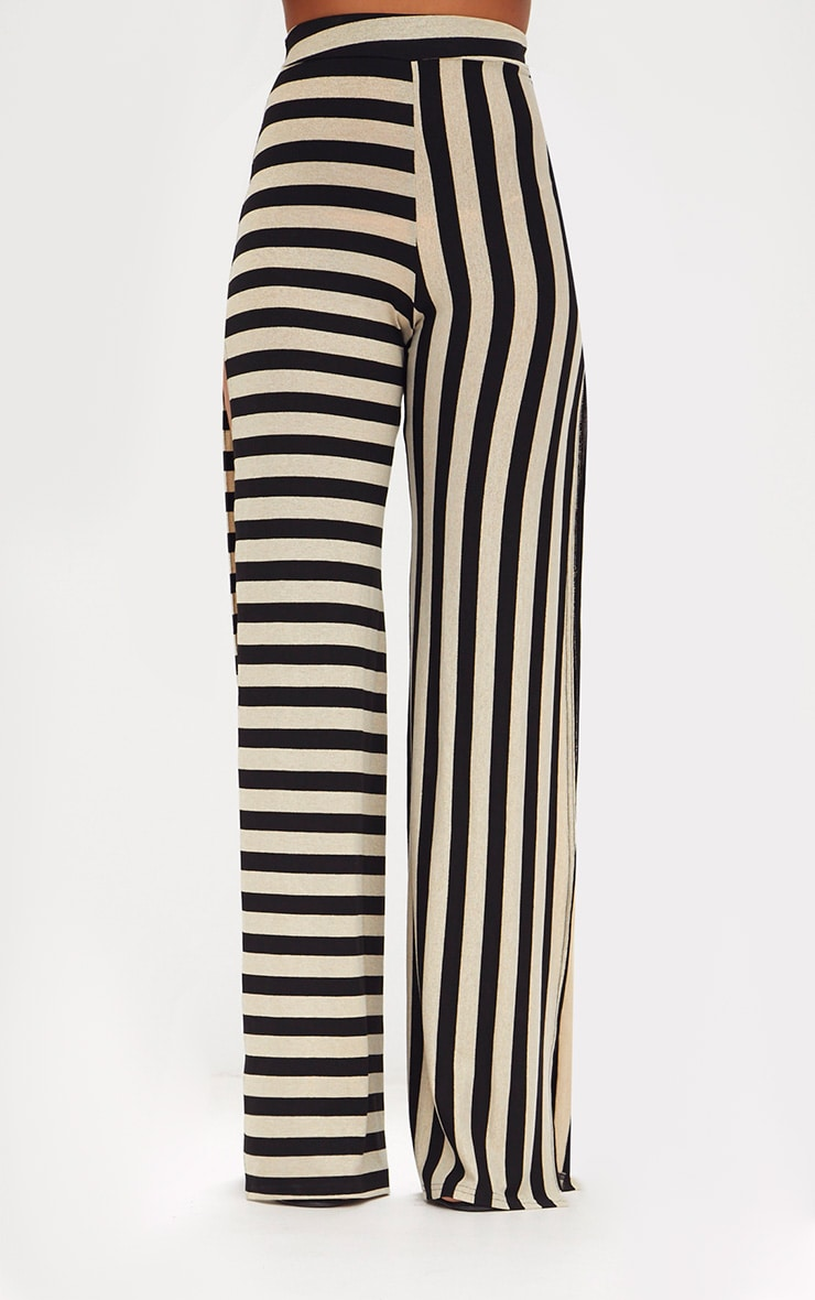 Black Contrast Leg Metallic Stripe Trousers 2