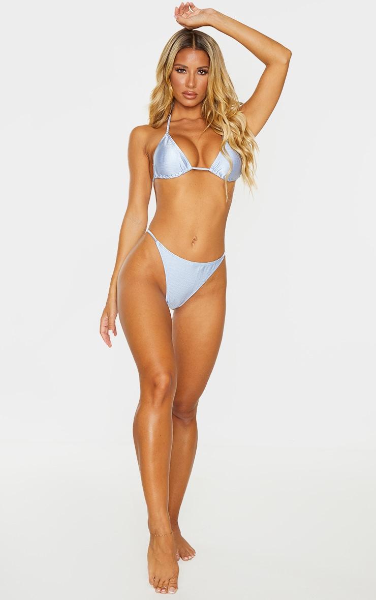 Blue Satin Look Triangle Padded Bikini Top 3