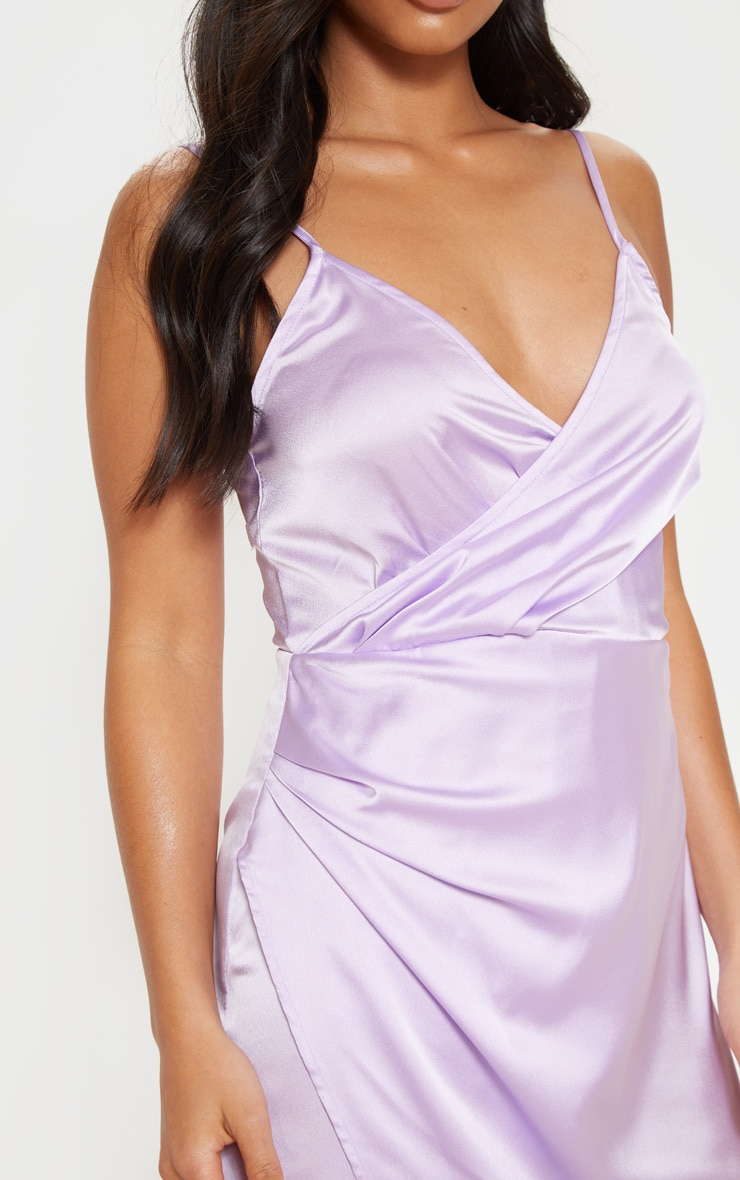 Petite Lilac Satin Wrap Detail Maxi Dress 5