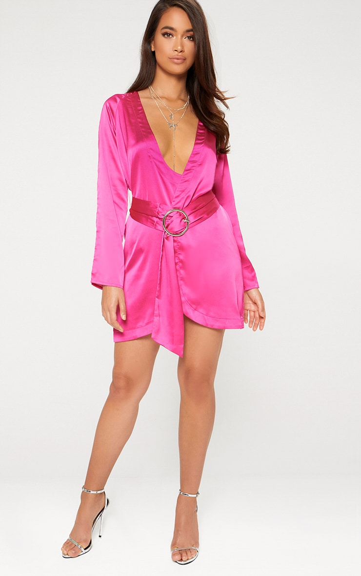 Fuchsia Pink Satin Belted Shirt Dress 3