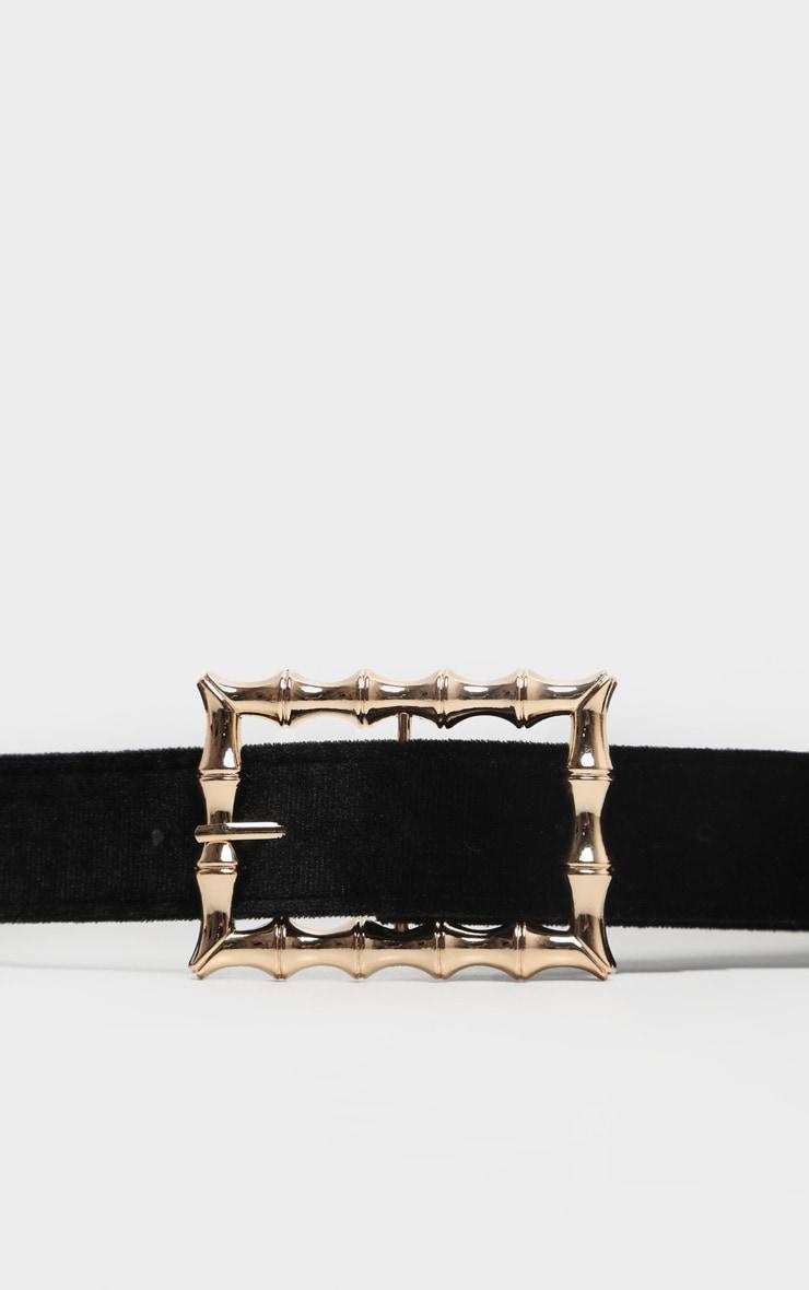 Black Velvet Bamboo Buckle Belt 2