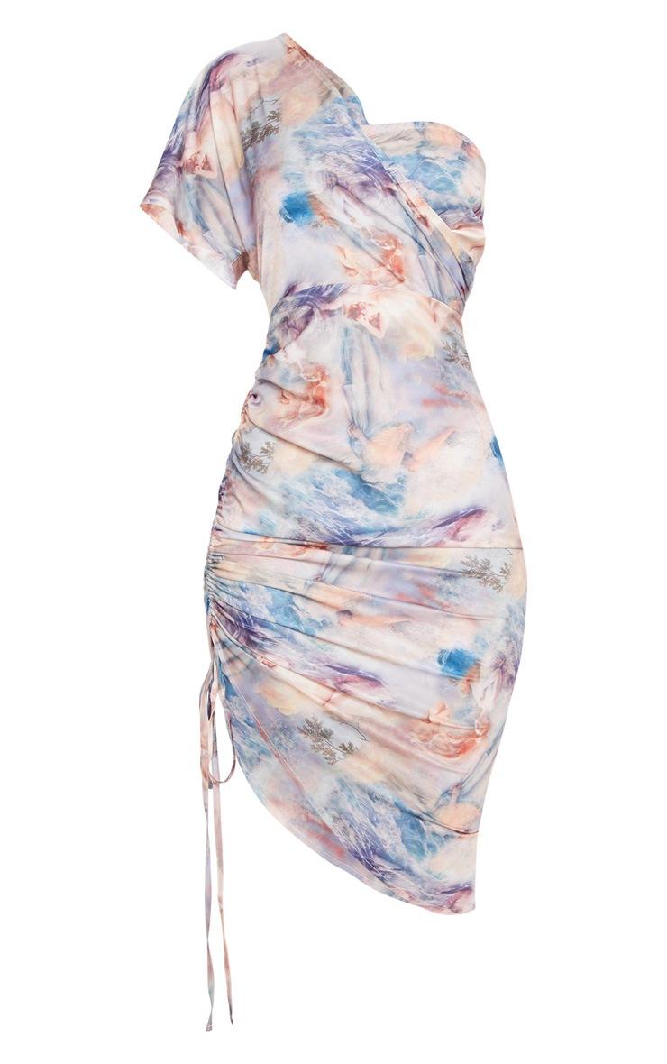 Multi Renaissance Print One Shoulder Ruched Side Midi Dress 3