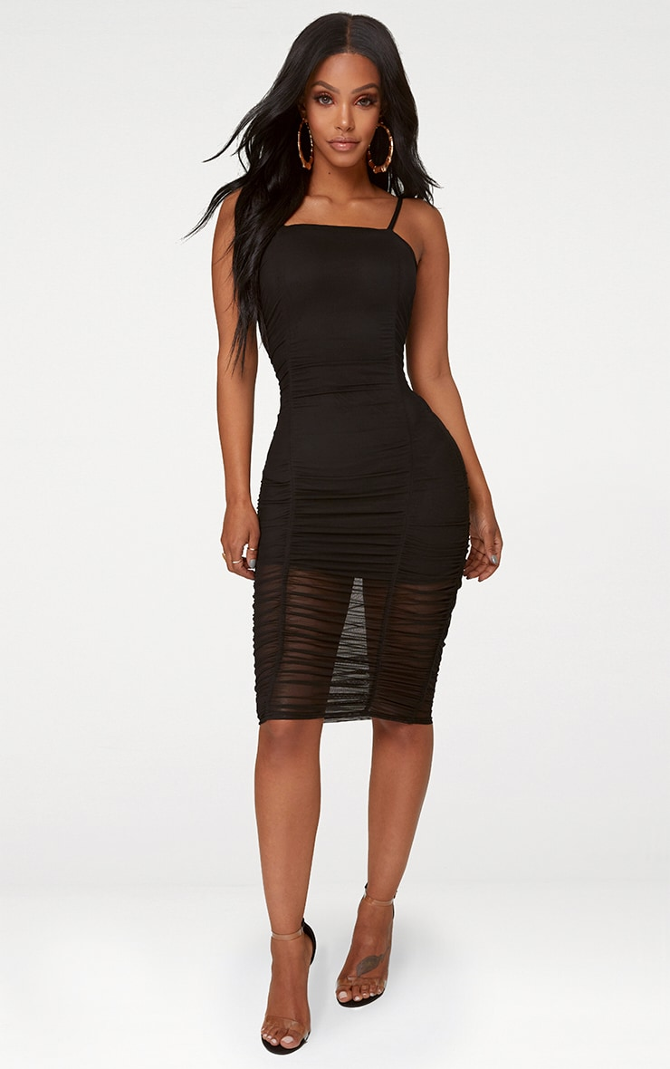 Shape Black Ruched Mesh Bodycon Mini Dress 3