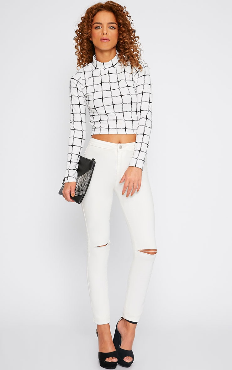 Maria White Grit Print High Neck Crop Top  3