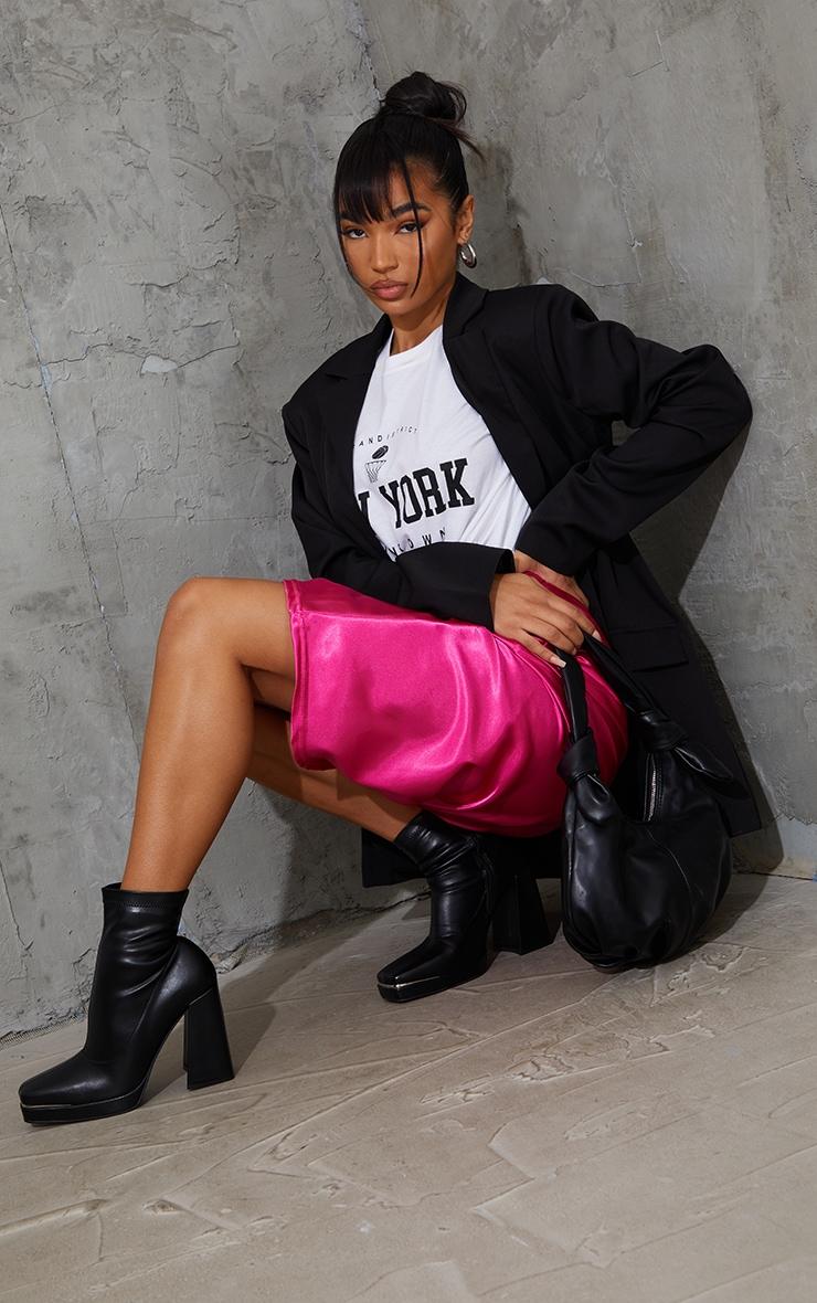 Black Square Toe Metal Trim Flare High Block Heel Sock Boots
